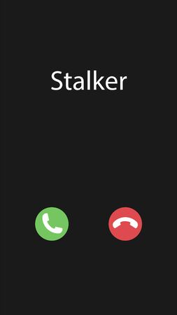 Vector illustration with the inscription: Stalker. Phone interface with two icons accept or reject a call