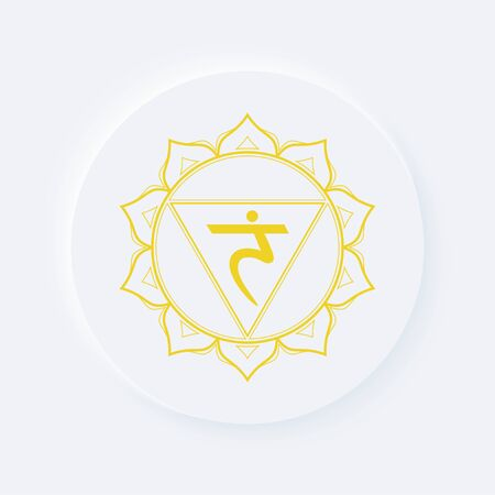 Sacral chakra of manipura sign. Icon with white neumorphic soft rounded circle button. EPS 10 vector illustration. Illustration