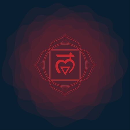 First sacral chakra of Muladhara sign. Icon with rounded circle smoke aura. EPS 10 vector illustration.
