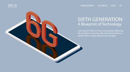 Sixth generation. A Blueprint of Technology. Isometric vector illustration. 3d model of a white smartphone with the letters 6G.