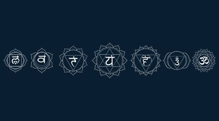 Outline icons chakras set: muladhara, swadhisthana, manipura, anahata, vishuddha, ajna, sahasrara. Vector line symbol. Om sign on a black background. EPS 10 Vector illustration