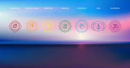 Vector abstract aerial panoramic view of sunrise over ocean with chakras icon set: muladhara, swadhisthana, manipura, anahata, vishuddha, ajna, sahasrara. Illustration of meditation and relaxation.
