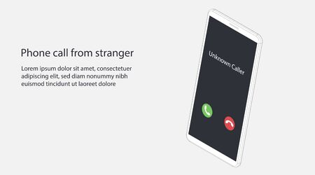 Unknown caller. Phone call from stranger. Isometric vector illustration. Realistic white outline smartphone. 3d model isolated on a gray background. Interface with two icons accept or reject a call