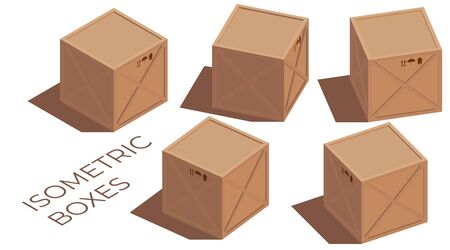 Isometric illustration of a vector cargo 3d brown wooden and cardboard boxes with transportation symbols. Turned to the side