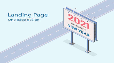 2021 welcome to new year. Isometric street billboard. Media christmas poster template. Vector commercial internet illustration, marketing web site landing page background 矢量图像