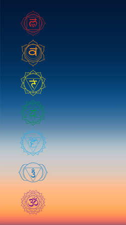 Vector vertical aerial panoramic view of sunrise over ocean with chakras icon set. Illustration of meditation and relaxation.