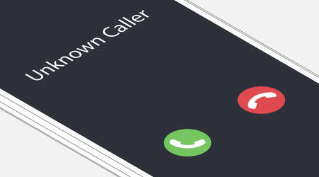 Unknown caller. Isometric vector illustration. White smartphone interface with two icons accept or reject a call