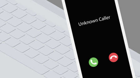 Unknown caller during work. Isometric vector illustration. White smartphone on a laptop keyboard background. Phone interface with two icons accept or reject a call