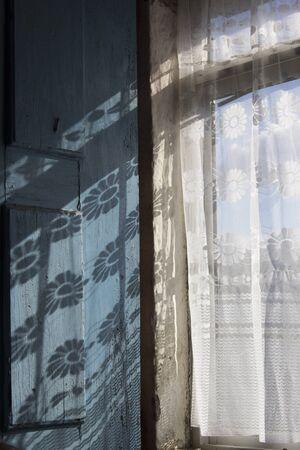 wood textures: window, shadow, curtain, rustic house, flower, wood, textures, sun, light