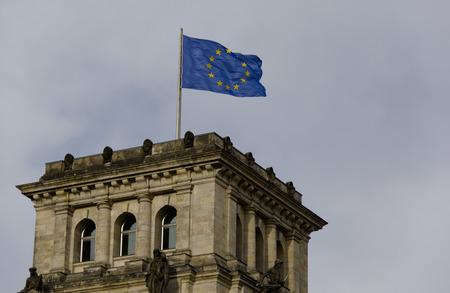 architectonics: parliament house parliament building congress flag banner european union building architecture architectonics upbuilging Stock Photo