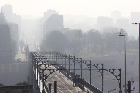 oporto: bridge city skyline oporto portugal