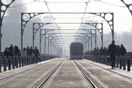 oporto: city skyline oporto portugal train subway Editorial