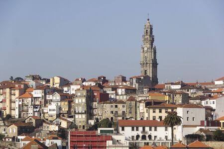 oporto: historic city oporto porto clrigos view landscape scenery panorama roofs tower Stock Photo