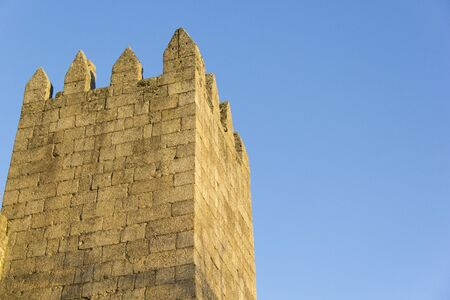 mediaeval: wall, castle, medieval, stone, blue sky, architecture, building, chateau, fortress, mediaeval, gothic Stock Photo