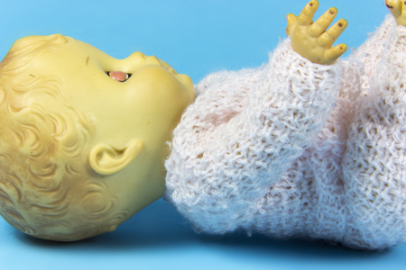 dolly: vintage doll, dolly, puppet, old toy, retro, blue background, infant, infantile, childish