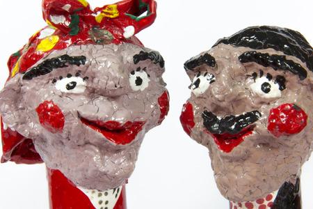 Handwerk, Kunsthandwerk, Verarbeitung, paare, twosome, Couplet, bighead, weißer Hintergrund Standard-Bild - 56494917