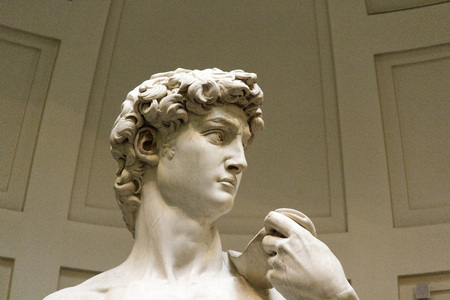 david, famous sculpture by michelangelo in museum, florence Stock Photo - 86072436