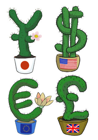 u.s. flag: funny simbols of currencies in the form  of cacti