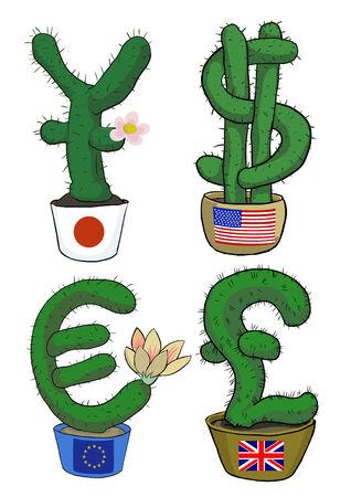 britan: funny simbols of currencies in the form  of cacti