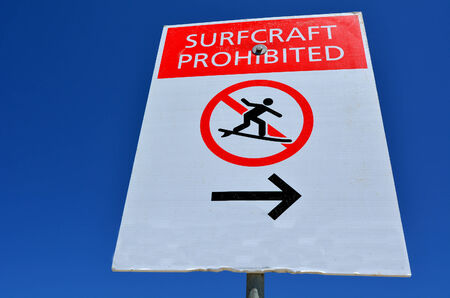 queensland: Surf Craft prohibited  Sign and symbol in Gold Coast, Queensland Australia.