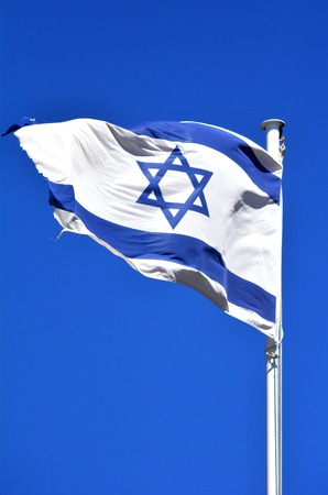 blu sky: The flag of Israel against blu sky background,