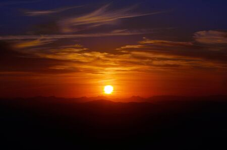 Dramatic sunset from Mount Tamborine in Gold Coast Queensland Australia photo