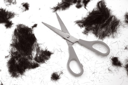trimmed: Trimmed hair on the floor with scissors. (BW) fashion concept Stock Photo