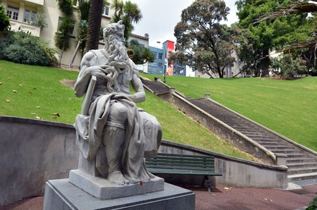 vincoli: Moses statue in Myers Park, Auckland. Its heritage marble copy of Michelangelos sitting Moses statue in the church of San Pietro in Vincoli in Rome. Stock Photo