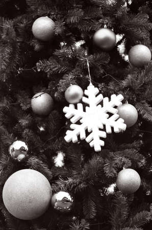 Christmas Tree decorations Christmas Tree decorations. Holiday concept. BW