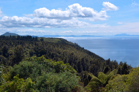 north island: Landscape of Lake Taupo in the center of the North Island of New Zealand.