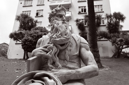 bible ten commandments: Moses statue in Myers Park, Auckland. Its heritage marble copy of Michelangelos sitting Moses statue in the church of San Pietro in Vincoli in Rome. Stock Photo