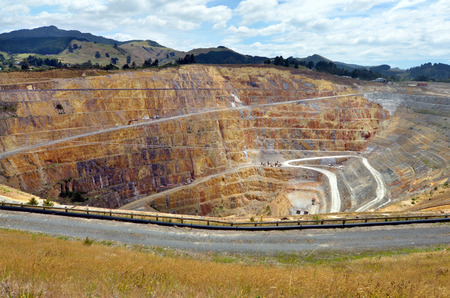 WAIHI, NZL - JAN 19 2015:Martha Gold Mine in Waihi. Its one of the most important gold and silver mines in the world.100,000 oz of gold and 700,000 oz of silver have been produced annually since 1988
