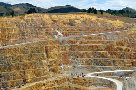 annually: WAIHI, NZL - JAN 19 2015:Martha Gold Mine in Waihi. Its one of the most important gold and silver mines in the world.100,000 oz of gold and 700,000 oz of silver have been produced annually since 1988