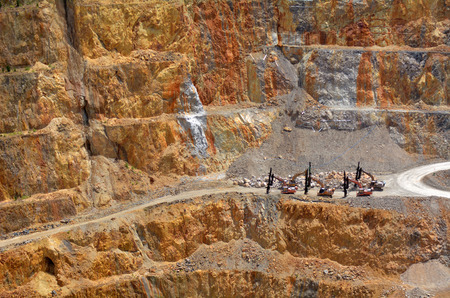 gold mine: WAIHI, NZL - JAN 19 2015:Martha Gold Mine in Waihi. Its one of the most important gold and silver mines in the world.100,000 oz of gold and 700,000 oz of silver have been produced annually since 1988