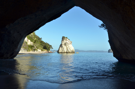 australasia: Landscape view of  Te Whanganui-A-Hei (Cathedral Cove) Marine Reserve in Coromandel Peninsula North Island, New Zealand. Stock Photo