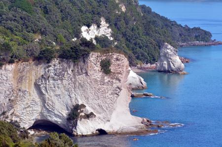 north island: Aerial view of Te Whanganui-A-Hei (Cathedral Cove) Marine Reserve in Coromandel Peninsula North Island, New Zealand. Stock Photo