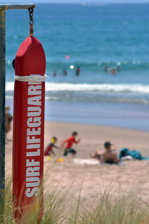 coastguard: WHITIANGA, NZL - Jan 20 2015:Rescue buoy. NZL Government urge to stump up Lifesavers and Coastguard operations, as 2013 OECD report show NZ has the 3rd highest drowning rate in the developed world.