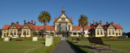 ROTORUA, NZL - JAN 11 2015:Visitors in Rotorua Museum of Art and History.Its an iconic symbol and major tourist attraction of Rotorua, New Zealand.