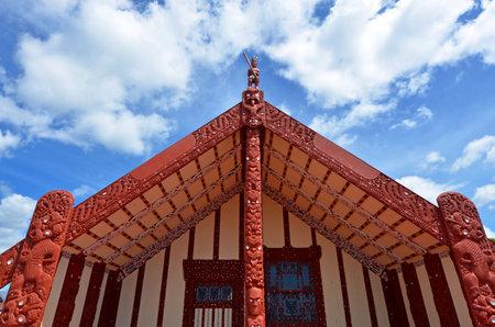 Rotorua, NZL - 11 Gennaio 2015: Te Papaiouru Marae in, Rotorua, sono stati accolti a New Zealand.It una delle più importanti case di riunione in Nuova Zelanda molte persone significative su Te Papaiouru Marae, compresi reale inglese.