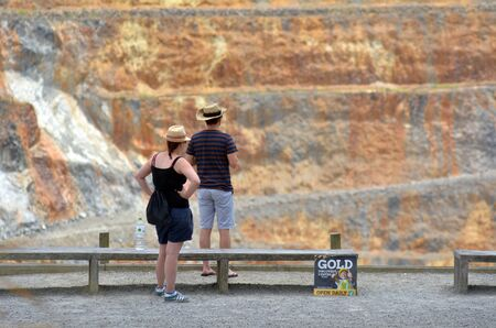 martha: WAIHI,NZL - JAN 19 2015:Visitors in Martha Gold Mine.Its one of the most important gold - silver mines in the world.100,000 oz of gold and 700,000 oz of silver have been produced annually since 1988