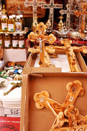 Christian crosses for sale at a shop in the old city of Jerusalem, Israel photo