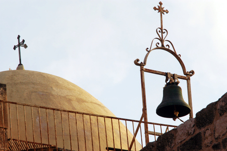 church of the holy sepulchre: Church of the Holy Sepulchre roof in Jerusalem, Israel. Stock Photo