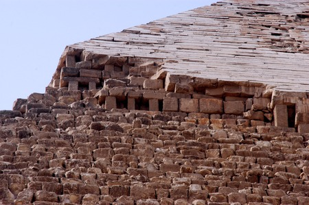khufu: The broken top of the Pyramid of Khufu in Giza, Egypt.