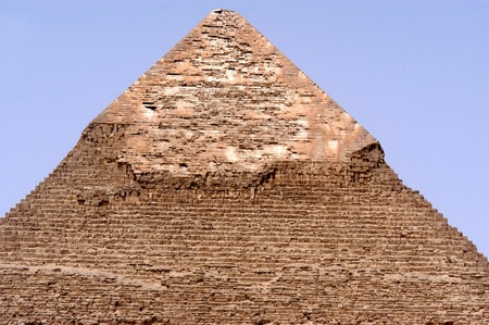 cheops: The broken top of the Pyramid of Khufu in Giza, Egypt.