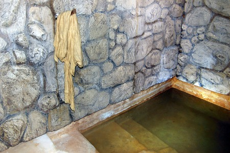 mideast: QUMRAN ISR  SEP 27:Ancient mikvah on September 27 2007.Its a bath used for the purpose of the ritual immersion in Judaism according to the Jewish family purity law.