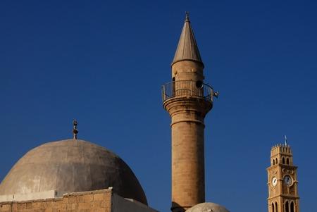 akko: Sinan Basha Mosque in Acre or Akko, Israel. Stock Photo
