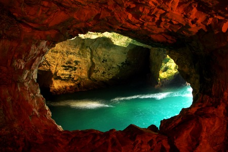 Rosh HaNikra - head of the grottos is a geologic formation of a white chalk cliff face which opens up into spectacular grottos located on the coast of the Mediterranean Sea, in the Western Galilee in North Israel. photo