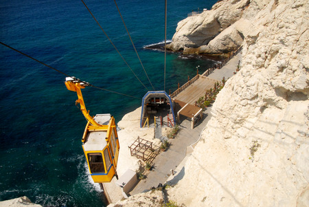 hanikra: Cable car to Rosh HaNikra grotto in North Israel.
