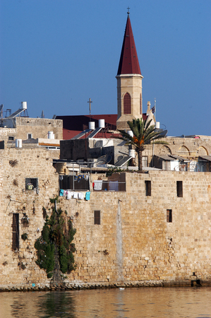 akko: An old church and the fortification of the old city Akko, Israel