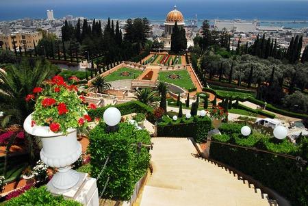 bahaullah: The Bahai Temple and gardens in Haifa Israel Stock Photo